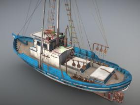 PBR 工程船 补给船 拖船 拖轮 搜救船 救生船 起重船 浮吊船 作业船 3d模型