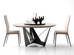 现代餐桌椅组合 现代餐桌椅 圆形餐桌 皮餐椅
