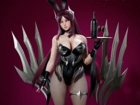 高精度 动画游戏模型 刀妹 刀锋舞者 艾瑞莉 全4边面可编辑 内含FBX MAX  MAYA 八猴