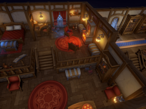 游戏房屋 卡通房间 低面小屋 lowpoly 卡通动漫小屋 魔法师房子 壁炉 夜晚 炼金术士的房子