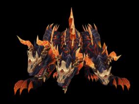 地狱三头犬  动画 游戏模型手游 写实角色 暗色系 怪物boss 魔兽世界 暗黑魔幻 欧美风 翅膀坐