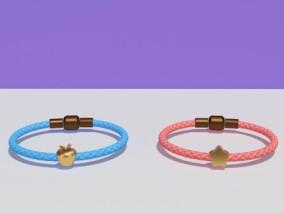 足金转运珠手绳 3d模型
