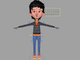 maya绑定 卡通男孩小学生 带口型闭眼喜怒哀乐表情控制器 3d模型