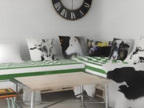沙发桌子枕头保证椅子钟表时钟毛毯客厅