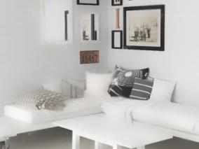 沙发 枕头 相框 壁画