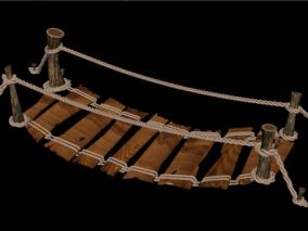 索桥 木桥 吊桥 码头木桥 木板桥 古代吊桥 悬索桥 木吊桥 3d模型