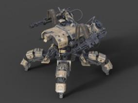 机甲机枪 机关枪 塔防武器 科幻机械写实