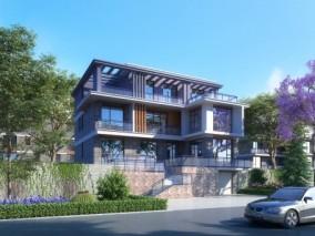 现代别墅外观,建筑室外,外景外立面,植物灌木,汽车人物 3d模型