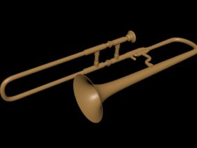 长号伸缩喇叭 小号 圆号 吹奏乐器 西方乐器 3d模型