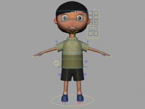 adv绑定卡通小男孩 maya Q版2头身小孩 小学生带走路动画 3d模型