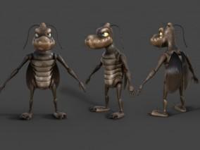 卡通蟑螂 卡通昆虫 害虫 卡通角色 3d模型