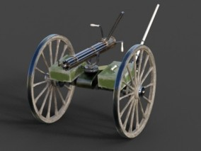 加特林 机关枪 热武器 早期机枪 pbr材质贴图 3d模型
