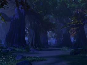 森林场景 奇幻森林 树林场景 树木 植物 灌木