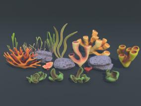 各种卡通珊瑚 海底生物 海洋珊瑚 海底元素 海珊瑚 珊瑚虫 水草 3d模型
