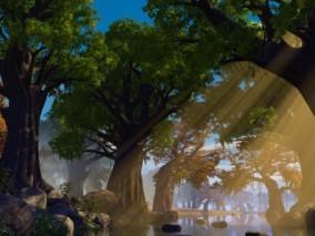 森林小河场景 森林 奇幻森林 小河 小溪 植物