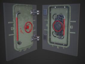 次世代 PBR 密闭门 密封门 舱门 防爆防御门 密室门 金库门 3d模型