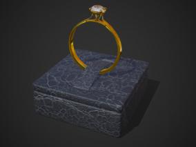钻戒 婚戒 戒指 金银钻戒 钻石 戒托 黄金首饰 配饰 订婚戒指 3d模型