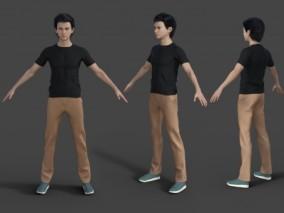 短袖T恤 长裤服装 小哥哥 男性基础裸模 写实 大帅哥 青年模特 3d模型