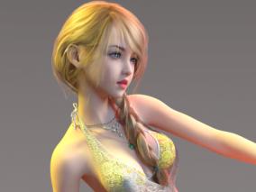 性感美体晚礼裙 金发碧眼大长腿美女 3d模型