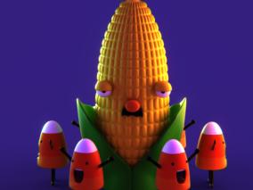 blender 七个模型组合 超酷风格 卡通玉米 房屋 水果蔬菜 幽灵动物 南瓜 3d模型