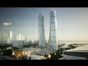 UE4场景数字孪生智慧城市房地产数据可视化通用案例工程杭州写字楼