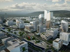 UE4场景数字孪生智慧城市房地产数据可视化通用案例工程城市科技园区鸟瞰