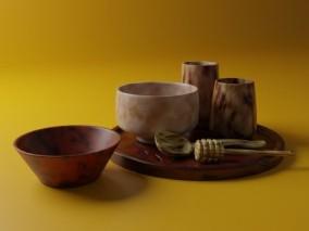 木质陶器 碗 托盘 厨房用品 3d模型