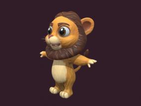 卡通拟人人形狮子 Q版狮子 吉祥物 可爱狮子 卡通动物角色 3d模型