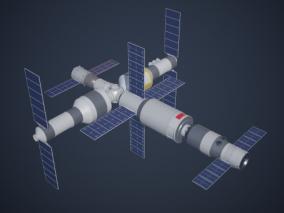 空间站 神舟空间站 国际空间站 天宫号 中国空间站 天宫号空 卫星  3d模型