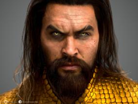 海王黄金异瞳男性写实面部特写CG模型欣赏