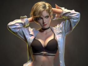 国人3D艺术家 Ting Xue  性感金发美女3D角色