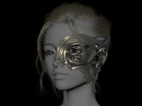 金星女孩赛博朋克机械人像设计