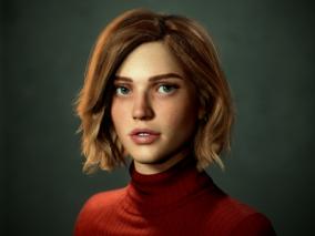 写实金发女孩CG模型作品