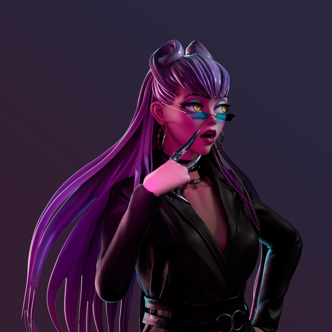 Evelynn    紫色暗黑御姐风格角色设计   设计师:iolacathern