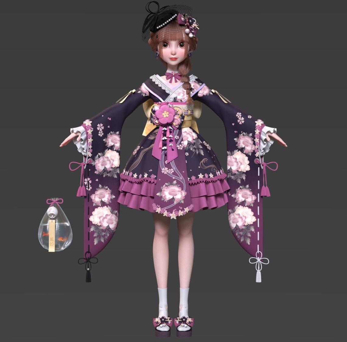 洋娃娃质感和服女孩   设计师: Yuheng Jiang