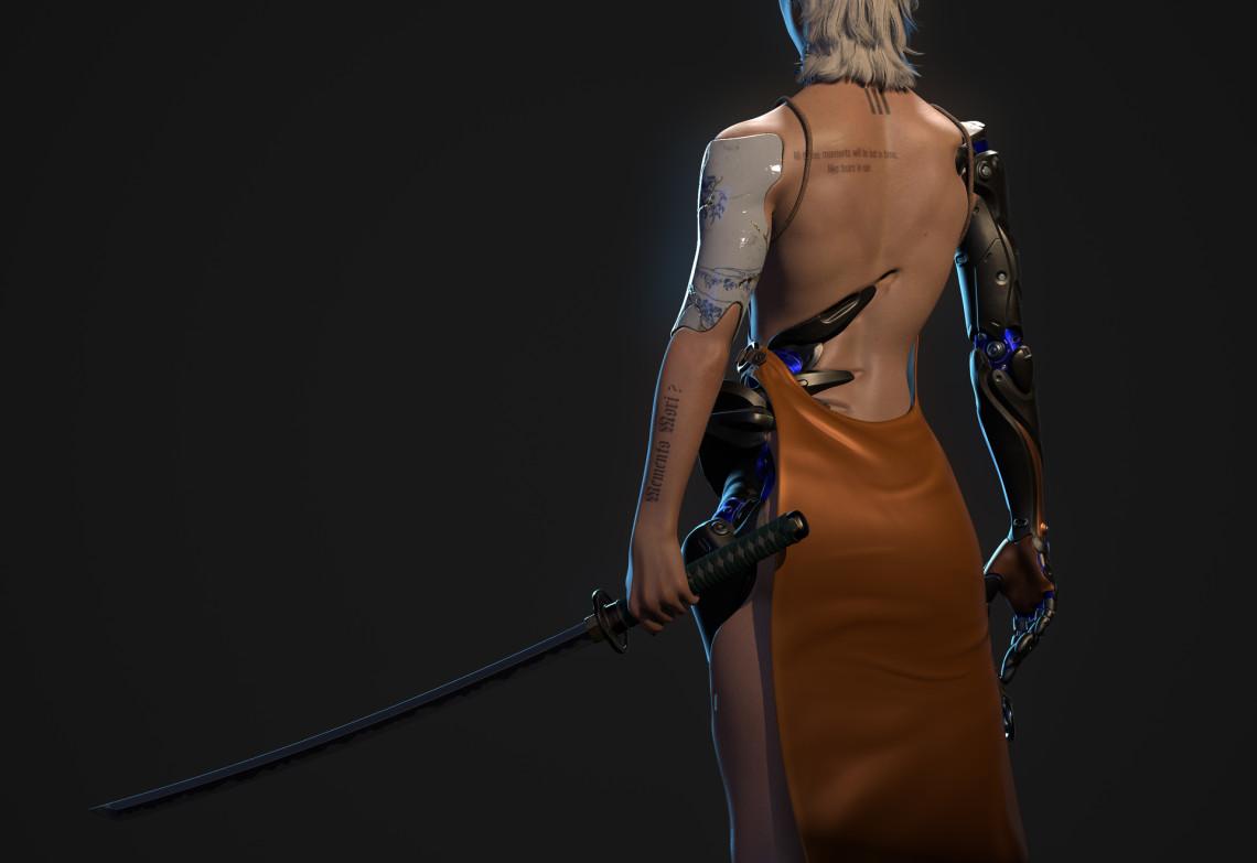 赛博朋克风女性人物设计 来自 narathboriboom