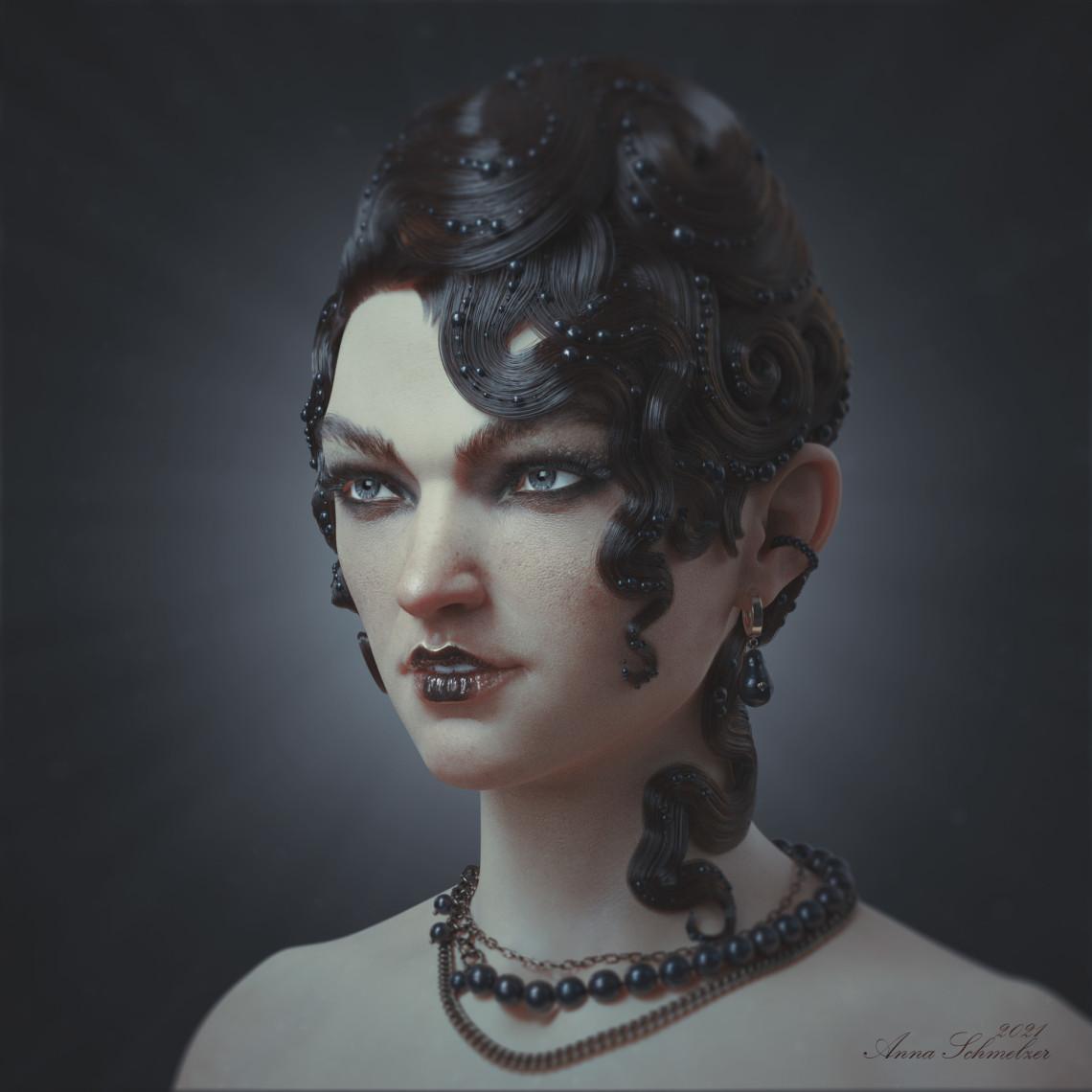 卷发女性角色设计    设计师:Anna Schmelzer